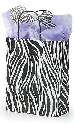 Paper Shopping Bags 100 Zebra Print Kraft Retail Gift Merchandise 8 X 5 X 10