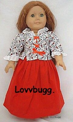 "Lovvbugg Colonial Laced School Dress w CAP for 18"" American Girl Felicity Doll Clothes"