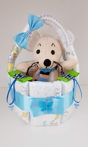 Korb aus Windeln, Windeltorte blau, Pampers Gr.3, Geschenk zum Baby Party,Geburt