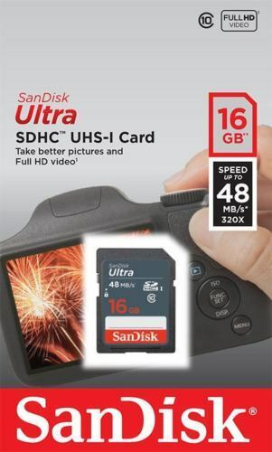 Lot of 5 SanDisk Ultra 16GB Class 10 48MB/s C10 SD SDHC SDSDUNB-016G Camera Card