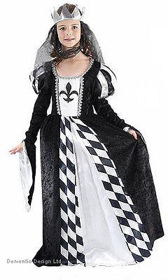 Mädchen Alice Schach Königin Mittelalterlich Schwarz Weiß Kostüm - Schwarz Schach Königin Kostüm