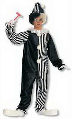 Clown Costume Adult 2 Pc Black & White Stripe One Piece Jumpsuit & Hat  S/M - Black And White Clown Hat