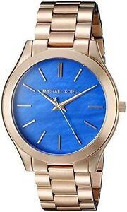 bb942ede7337c Womens Michael Kors Slim Runway MK3494 Stainless Steel Rose Gold Watch 40 Mm