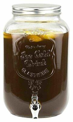 Glass Drink Dispenser (Home Basics NEW 2 Gallon Iced Beverage Glass Drink Dispenser -)