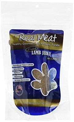 THE REAL MEAT COMPANY 828030 Dog Jerky Lamb Strips Treat, Long, 8-Ounce