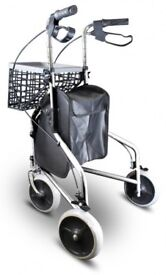 New in box, 3 wheeled Walker/trolley, perfect disability aid with 2 handles and brakes, chrome
