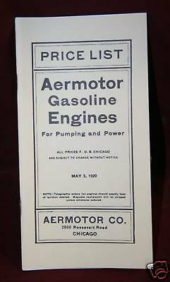Aermotor Gas Engine Catalog Price Book Pumping Windmill Motor Manual Hit Miss