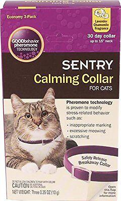 Cats Sentry Calming Collar 3-Pack Cat Pet Good Behavior Stress Pheromone Collars