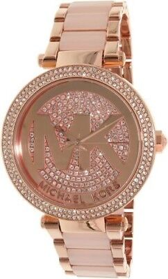 Michael Kors MK6176 Women's Parker Rose-Gold Stainless-Steel Crystal Logo Watch
