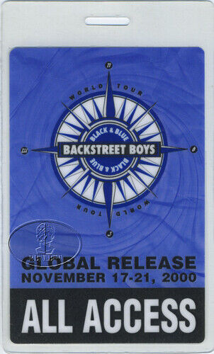 BACKSTREET BOYS 2000 LAMINATED BACKSTAGE PASS AA