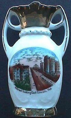 Antique LINCOLN NEBRASKA porcelain SOUVENIR VASE w/GREAT pic of OLD TOWN