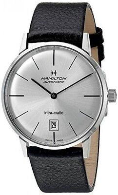 NEW HAMILTON 38MM INTRA-MATIC SILVER DIAL ON BLACK LEATHER H38455751