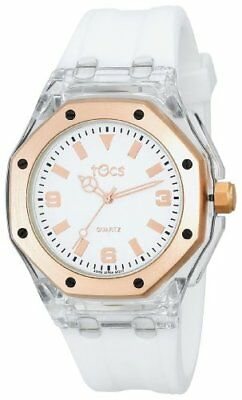 - Tocs 40901 White Rubber Strap White Dial Rose Gold Tone & Clear Case Watch