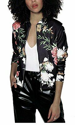 Mojessy Women's Floral Print Classic Quilted Baseball Jacket Fall Short Biker Bo
