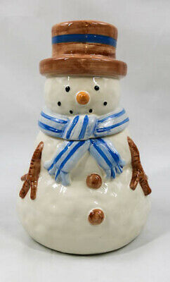 Snowman Christmas Cookie Jar Winter Holiday Decor Collectors 10in tall