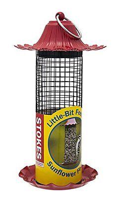 Stokes LittleBit Feeders Sunflower Bird Feeder w/Metal Roof, Red, .5lb Seed Cap