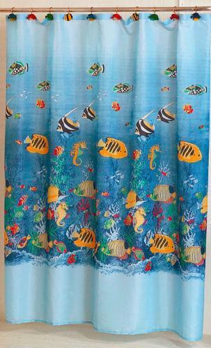 Tropical fish shower curtain ebay for Tropical fish shower curtain