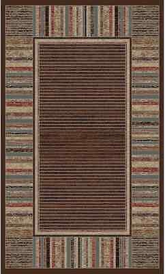 5X8 Area Rug Strata Brown Chocolate Mocha Blue Modern Contemporary Stripes -