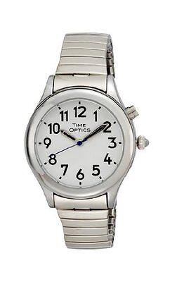 - TimeOptics Women's Talking Silver-Tone Day Date Alarm Expansion Bracelet Watch