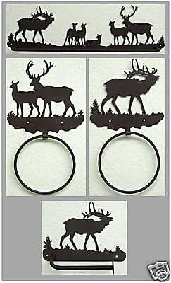 Elk Bathroom SET Rustic Lodge Mountain Hunting Cabin Metal Art Decor USA Made (Mountain Hunting Cabin Lodge)