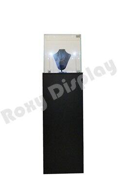 Pedestal Exhibition Stand Display Black Case Store Fixture Sc-ped-bk-l