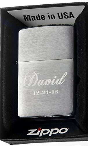 Groomsman Personalized Zippo Brush 200 Silver Custom Lighter