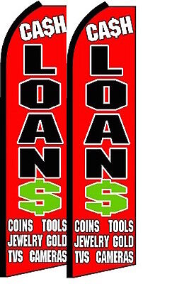 Cash Loans  King Size Polyester Swooper Flag Pk Of 2