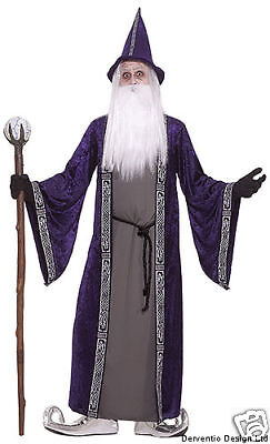 """Mens Medieval Merlin Wizard Halloween Costume Outfit Robe & Hat Magician NEW 42"""""""