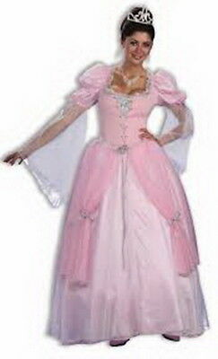 Princess Dress Adult Pink  Puffed Sleeved Long Fairy Tale Fantasy Gown One Size](Pink Princess Dress Adults)