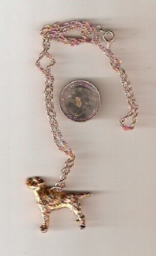 """Border Terrier Gold Plated Pendant on 20"""" chain Necklace Jewelry LAST ONE!*"""