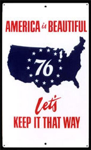 """76 (BICENTENNIAL) PATRIOTIC METAL SIGN 18 x 30"""" ORIGINAL AMERICAN FOLK ART CLEAN"""