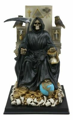 Black Santa Muerte Holding Scythe Seated On Throne Statue Our Lady Of Death