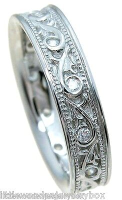 Antique Style Carved Sim Diamond Wedding Band Women's Ring 925 Sterling Silver Antique Style Wedding Ring