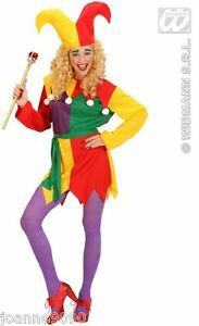 HALLOWEEN-LADIES-CLOWN-MEDIEVAL-JOLLY-JESTER-ELF-FANCY-DRESS-COSTUME-WITH-HAT-BN