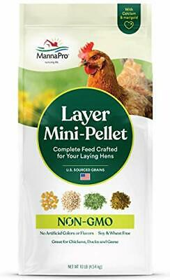 Manna Pro Layer Mini-Pellet Mash Chicken Laying Feed, Best for Chicks, Ducks,