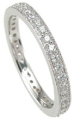 Round cut Diamond Pave setting Wedding Antique style Eternity Stackable - Antique Style Wedding Band