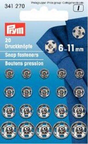 Prym 20 Pushbuttons for sewing 6-11 mm silver 341270