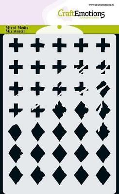Flex-Schablone Stencil Mixed Media diamond cross Kreuz CraftEmotions 185070/4421
