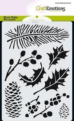 Flex-Schablone Stencil Tanne Zapfen Ilex Weihnacht Xmas CraftEmotion 185070/0102