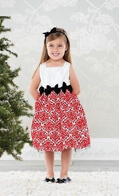 Damask Baby Girl Clothes (Mud Pie Baby Girl Diva Damask Collection Red Taffeta Dress Christmas Holiday)