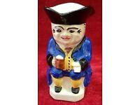 """Vintage Devonmoor Benjamin Bluecoat Toby Jug 3"""" high (8cm)"""