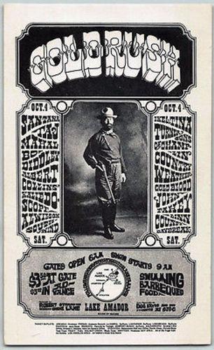 Santana, Ike & Tina Turner, Original Poster Handbill Gold Rush Lake Amador 1968
