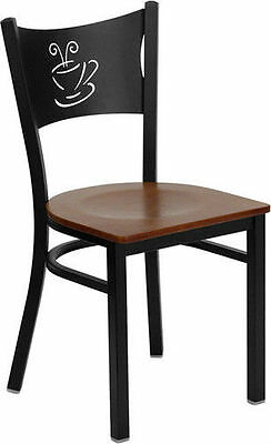 Black Coffee Back Metal Restaurant Chair With Cherry Wood Seat