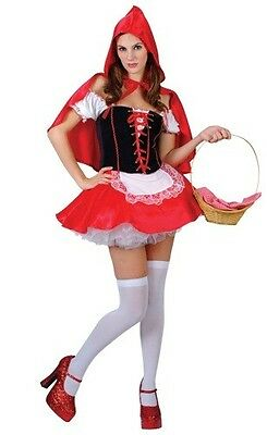 Adult Womens One Size Sexy Little Red Hot Riding Hood Fancy Dress Party Costume Sexy Red Hot Riding Hood