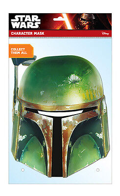 Boba Fett Official Star Wars 2D Card Party Face Mask Fancy Dress Bounty Hunter ()