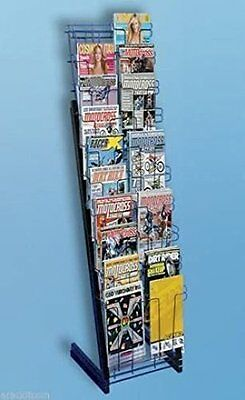 20 Pocket Magazine Literature Floor Standing Merchandiser Black Display Rack