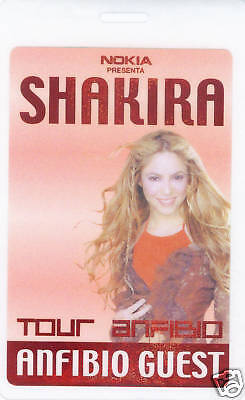 **** SHAKIRA ****  LAMINATED GUEST TOUR BACKSTAGE PASS