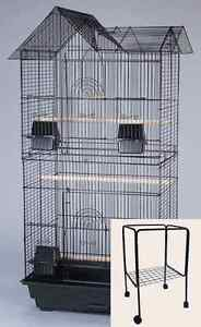 NEW Large Cockatiel Parakeet Finch Canary LoveBird Bird Cage With Stand Black