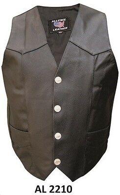 Men's Buffalo Snaps Split Cowhide Leather 2 front 2 inside pockets plain (Men Cowhide Leather)