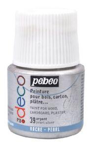 Art Supplies Pebeo Déco Peinture X Bois Plâtre Métal 45ml Acrylique Pearly Laqué Perle
